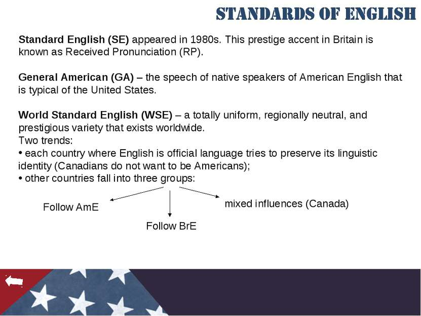 Standard English (SE) appeared in 1980s. This prestige accent in Britain is k...