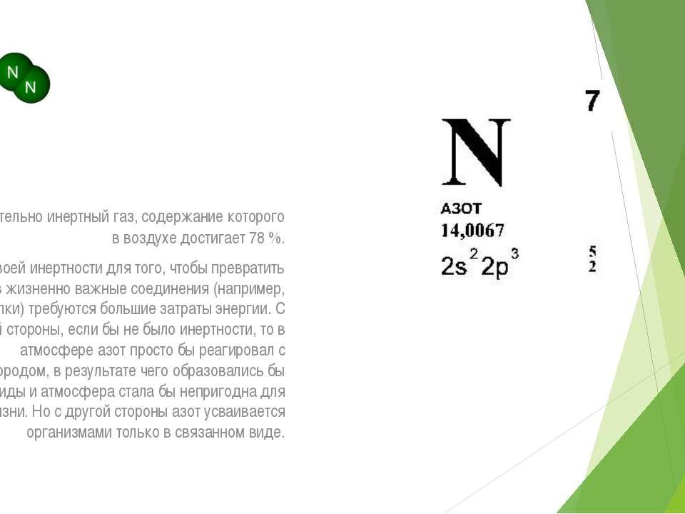 АЗОТ - относительно инертный газ, содержание которого в воздухе достигает 78 ...