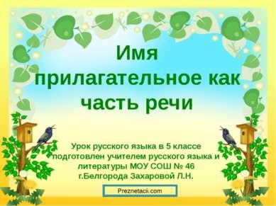 Имя прилагательное как часть речи Урок русского языка в 5 классе подготовлен ...