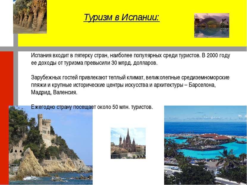 Туризм в Испании: Испания входит в пятерку стран, наиболее популярных среди т...