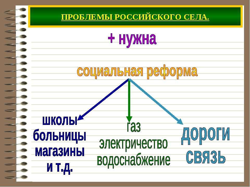 ПРОБЛЕМЫ РОССИЙСКОГО СЕЛА.