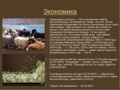 Экономика Природные ресурсы — месторождения нефти, железной руды, фосфоритов,...