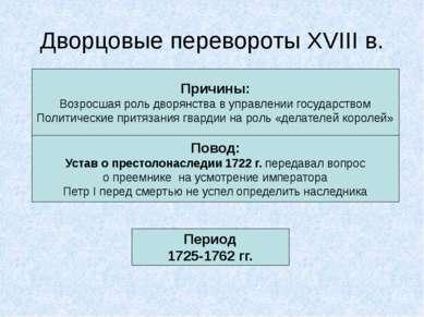 Дворцовые перевороты XVIII в. Причины: Возросшая роль дворянства в управлении...