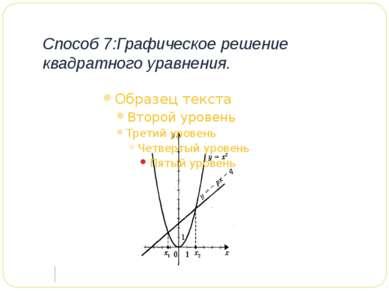 Способ 7:Графическое решение квадратного уравнения.