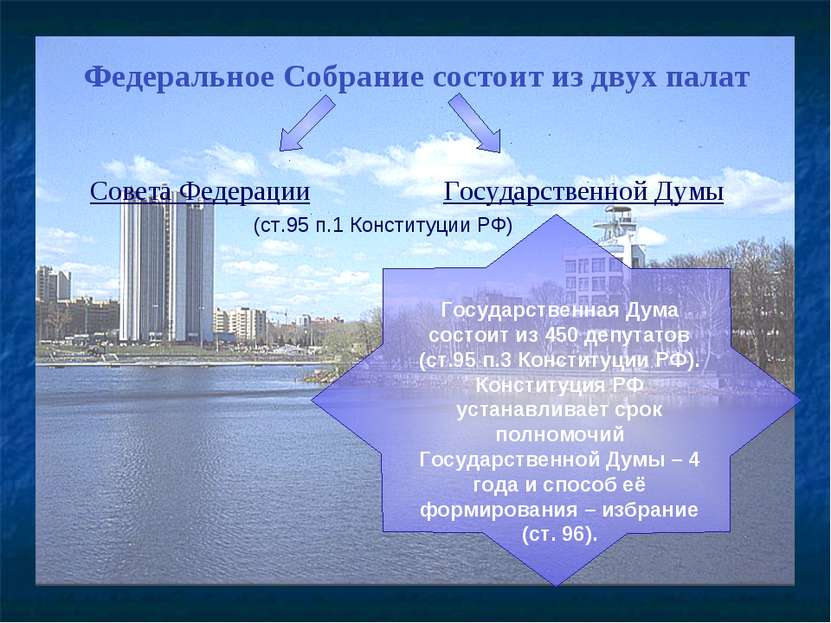 Федеральное Собрание состоит из двух палат Совета Федерации Государственной Д...