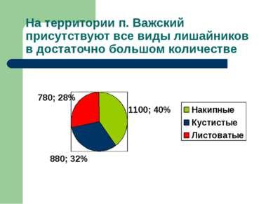 На территории п. Важский присутствуют все виды лишайников в достаточно большо...