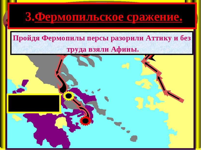 3.Фермопильское сражение. Пройдя Фермопилы персы разорили Аттику и без труда ...