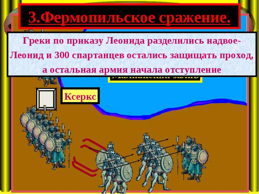3.Фермопильское сражение. Малиакский залив Ксеркс Греки по приказу Леонида ра...