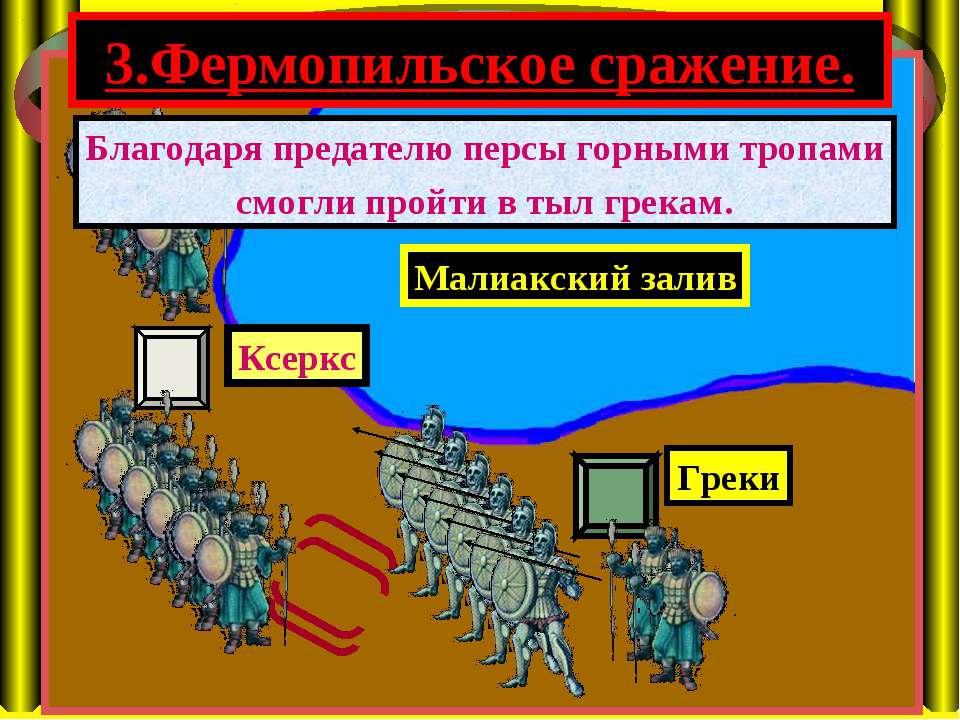 3.Фермопильское сражение. Малиакский залив Ксеркс Греки Благодаря предателю п...