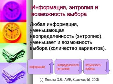 Информация, энтропия и возможность выбора Любая информация, уменьшающая неопр...