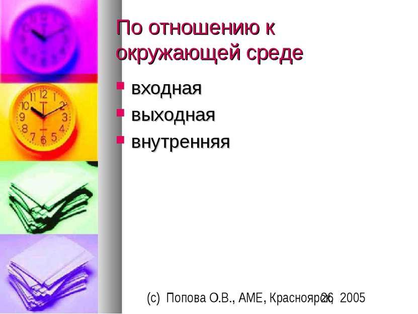 По отношению к окружающей среде входная выходная внутренняя (c) Попова О.В., ...