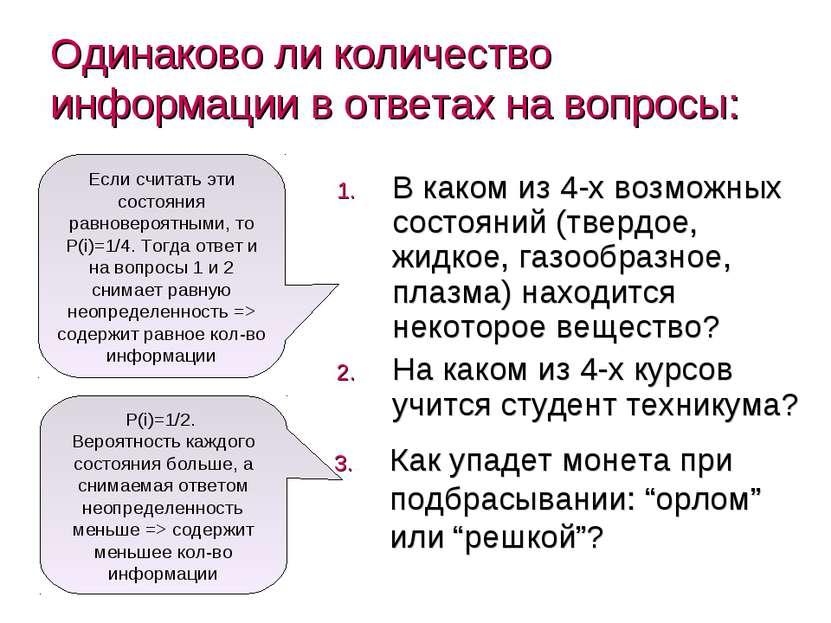 Одинаково ли количество информации в ответах на вопросы: В каком из 4-х возмо...