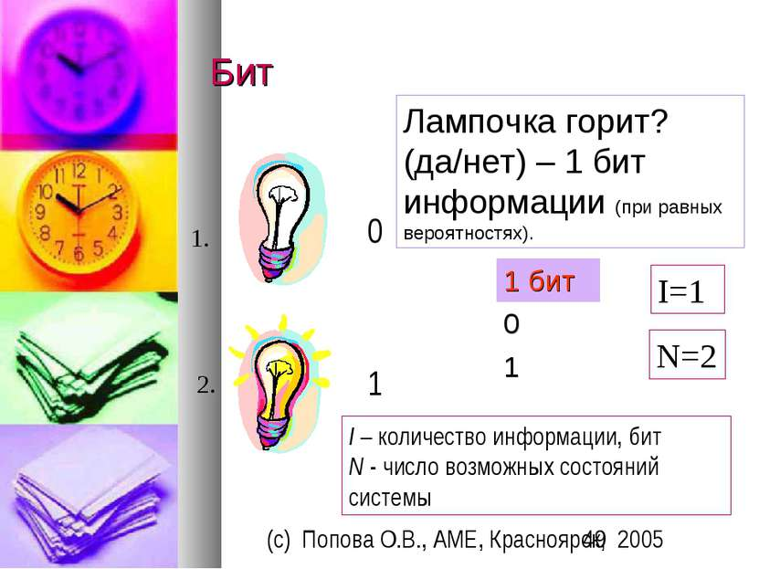Бит Лампочка горит? (да/нет) – 1 бит информации (при равных вероятностях). 1 ...