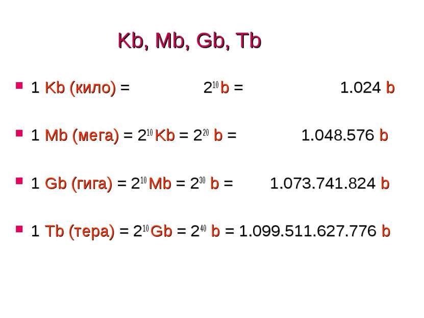 Kb, Mb, Gb, Tb 1 Kb (кило) = 210 b = 1.024 b 1 Mb (мега) = 210 Kb = 220 b = 1...