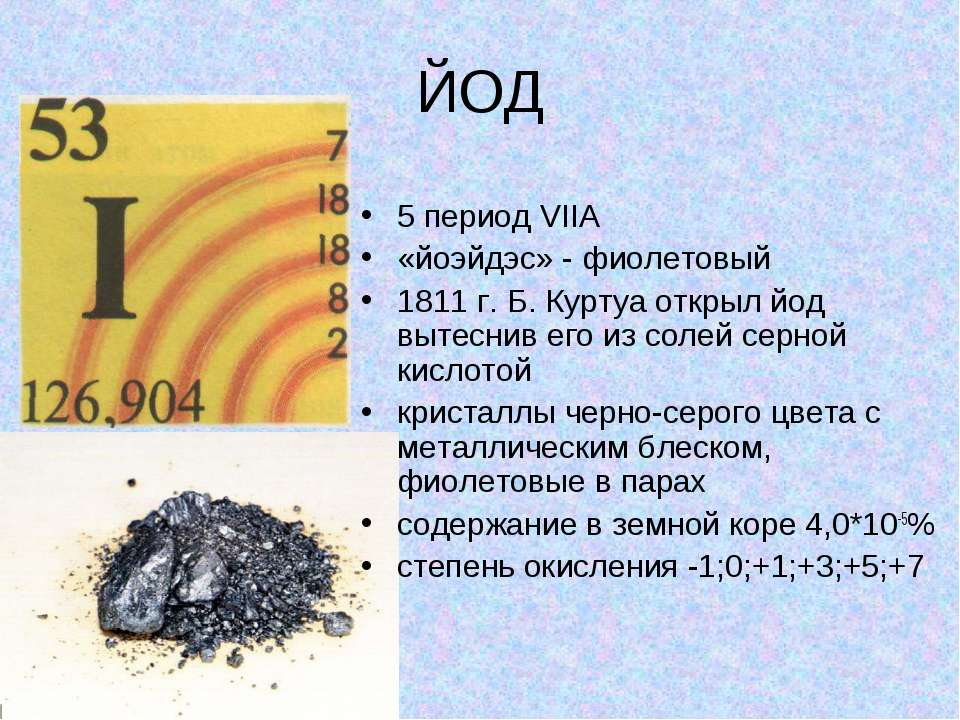 ЙОД 5 период VIIA «йоэйдэс» - фиолетовый 1811 г. Б. Куртуа открыл йод вытесни...