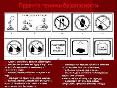 Правила техники безопасности (а) тушить спиртовку только колпачком; (б) запре...
