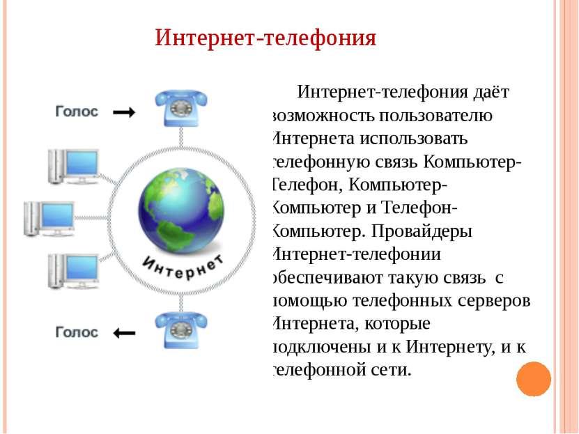 Интернет-телефония Интернет-телефония даёт возможность пользователю Интернета...