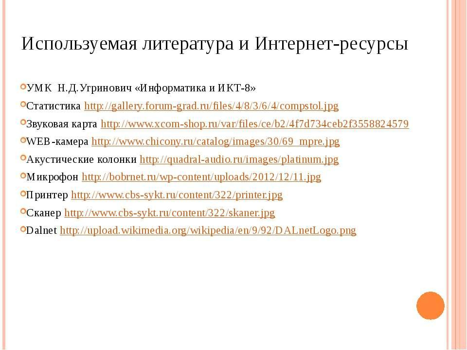 Используемая литература и Интернет-ресурсы УМК Н.Д.Угринович «Информатика и И...