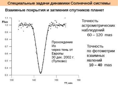 Специальные задачи динамики Солнечной системы Взаимные покрытия и затмения сп...