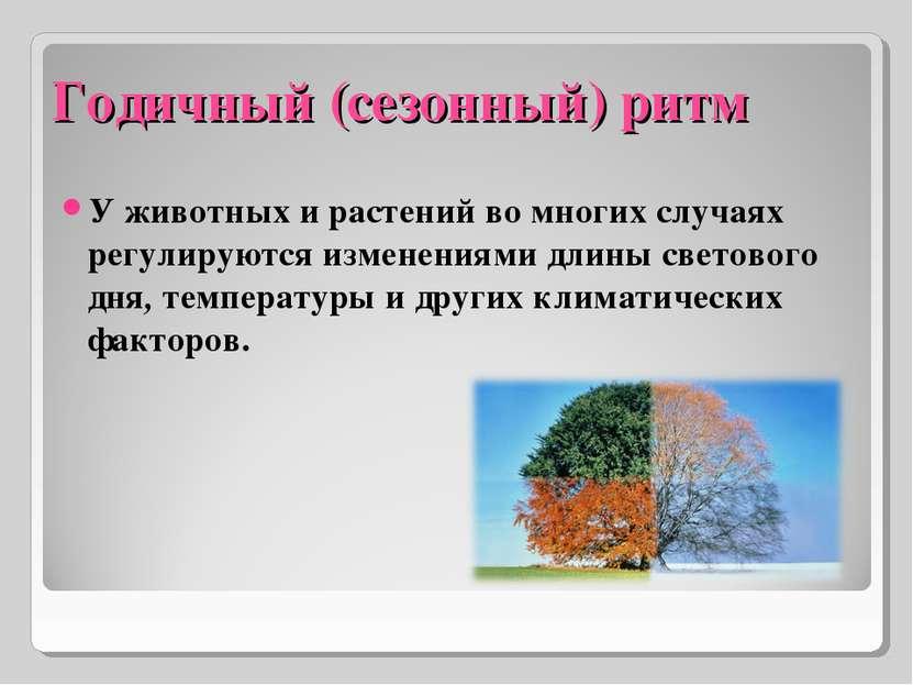 Годичный (сезонный) ритм У животных и растений во многих случаях регулируются...