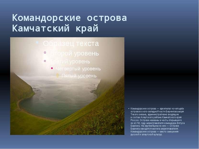 Командорские острова Камчатский край Командорские острова— архипелаг изчеты...