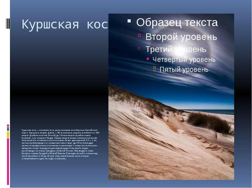 Куршская коса Куршская коса— песчаная коса, расположенная напобережье Балти...