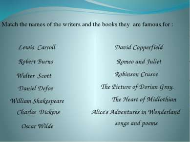 Match the names of the writers and the books they are famous for : William Sh...