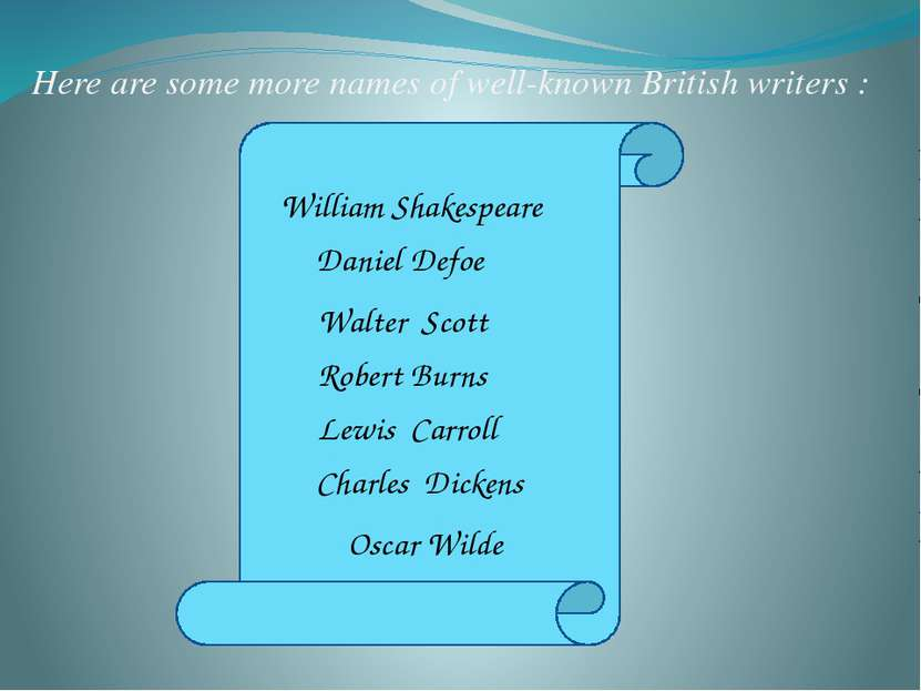 Here are some more names of well-known British writers : William Shakespeare ...