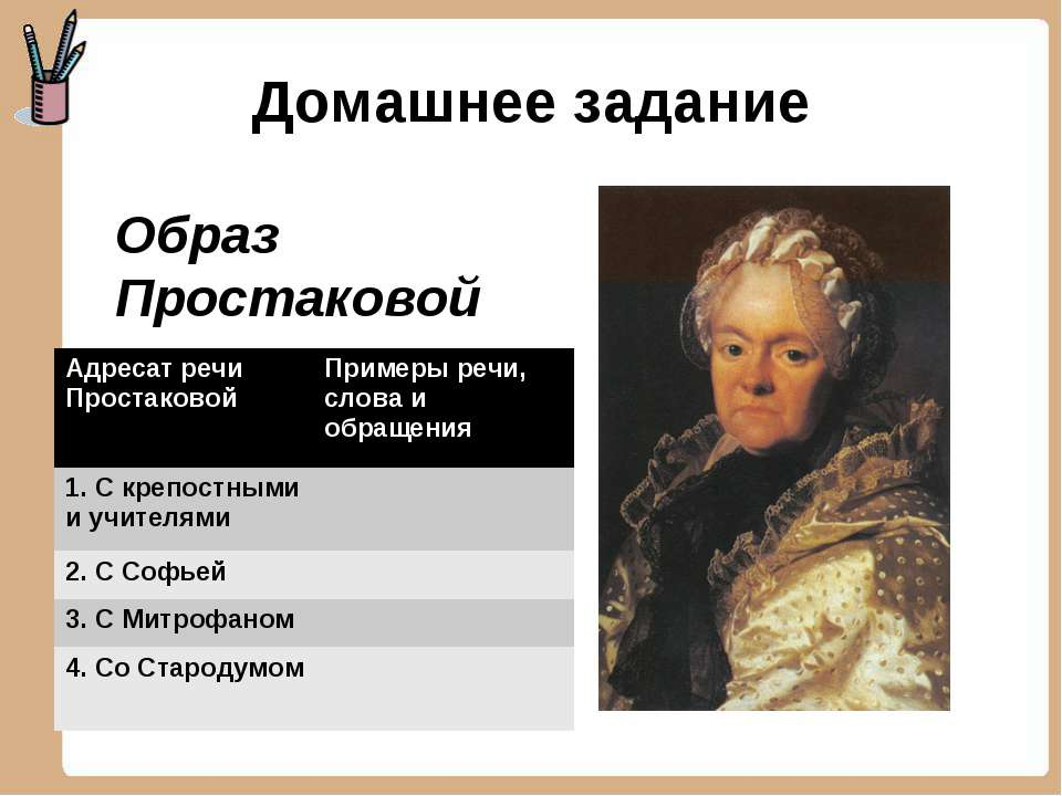 Домашнее задание Образ Простаковой Адресат речи Простаковой Примеры речи, сло...