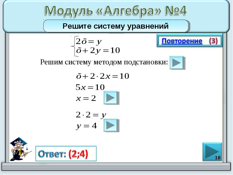 Решим систему методом подстановки: * Решите систему уравнений