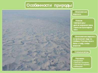 Особенности природы Многолетняя мерзлота Низкие температуры: долгая морозная ...