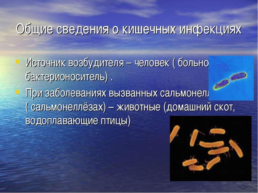 Общие сведения о кишечных инфекциях Источник возбудителя – человек ( больной ...
