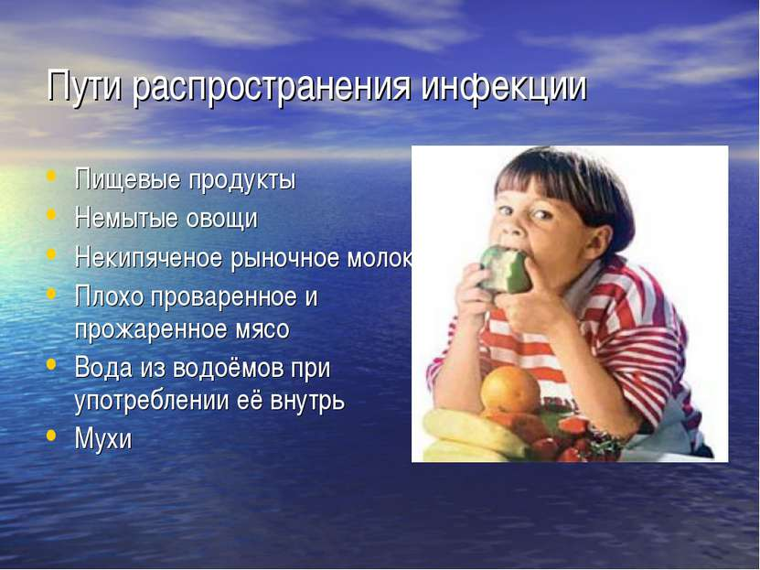 Пути распространения инфекции Пищевые продукты Немытые овощи Некипяченое рыно...