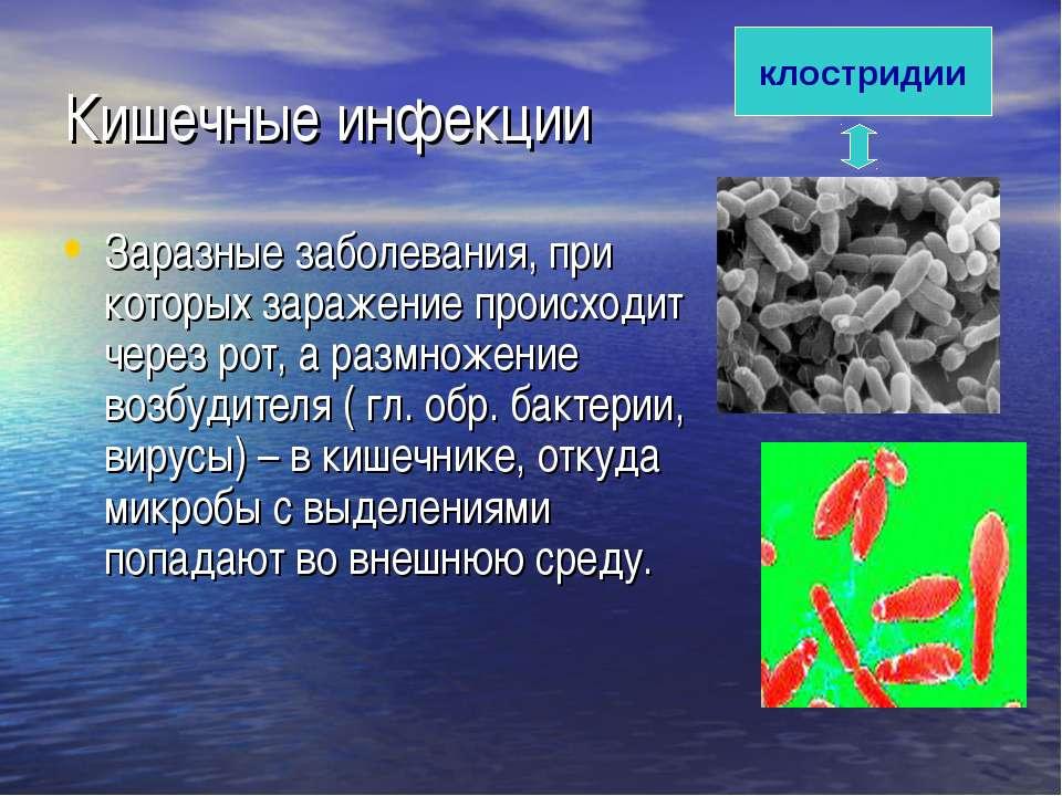 Кишечные инфекции Заразные заболевания, при которых заражение происходит чере...