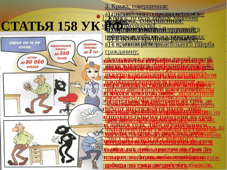 СТАТЬЯ 158 УК РФ 1. Кража, то есть тайное хищение чужого имущества, - наказыв...