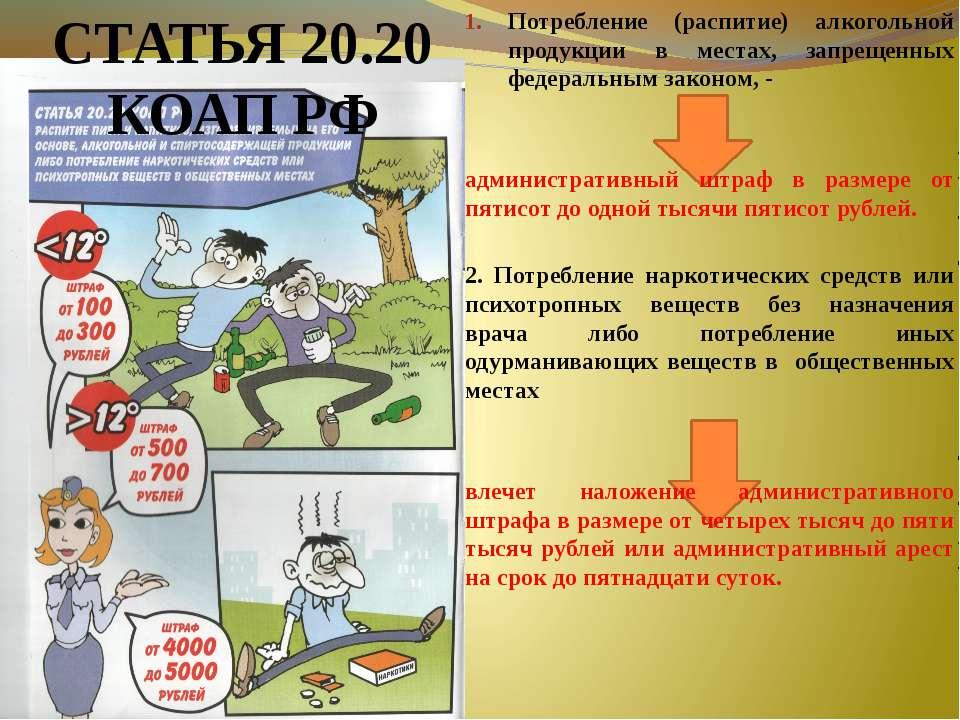 Потребление (распитие) алкогольной продукции в местах, запрещенных федеральны...