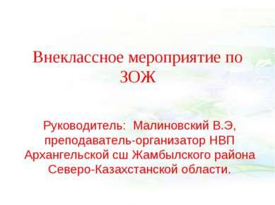 Внеклассное мероприятие по ЗОЖ Руководитель: Малиновский В.Э, преподаватель-о...