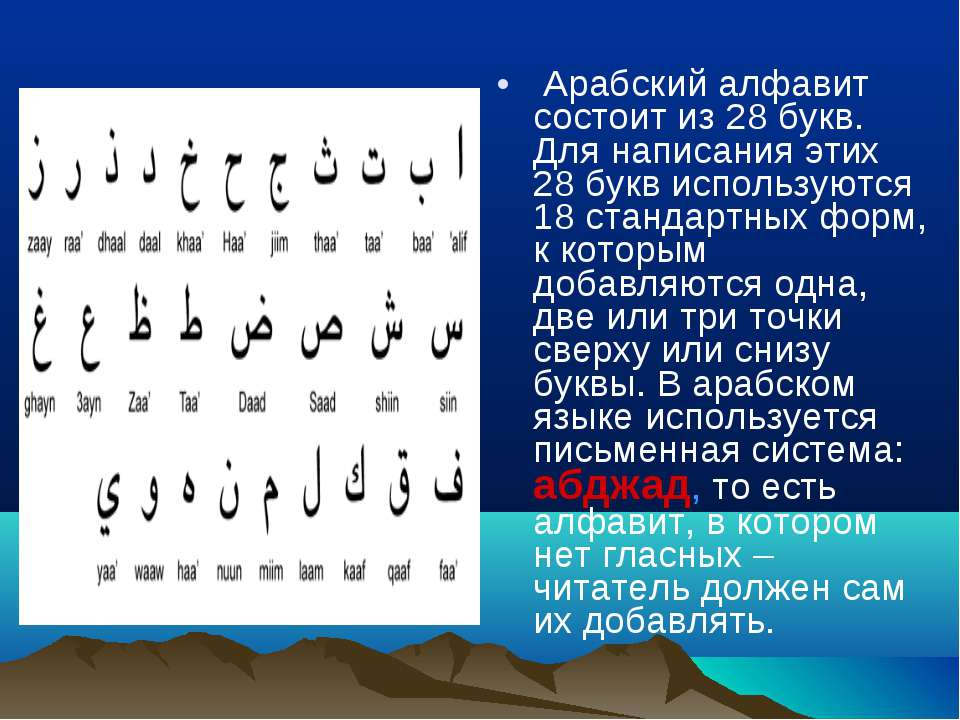 Арабский алфавит состоит из 28 букв. Для написания этих 28 букв используются ...