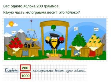 Вес одного яблока 200 граммов. Какую часть килограмма весит это яблоко? 200 1000