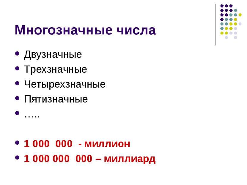 Многозначные числа Двузначные Трехзначные Четырехзначные Пятизначные ….. 1 00...