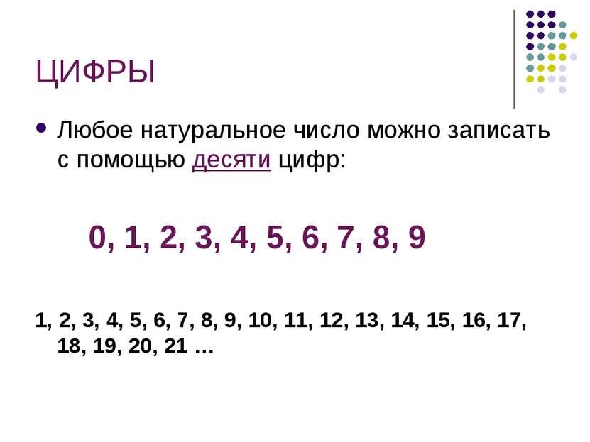 ЦИФРЫ Любое натуральное число можно записать с помощью десяти цифр: 0, 1, 2, ...