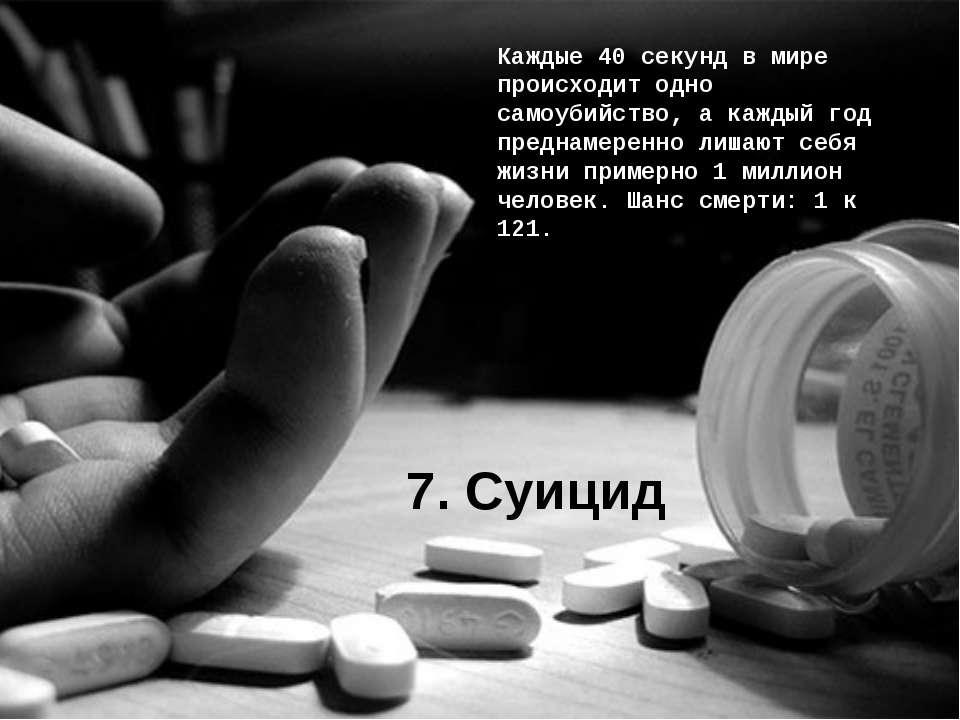 7. Суицид Каждые 40 секунд в мире происходит одно самоубийство, а каждый год ...