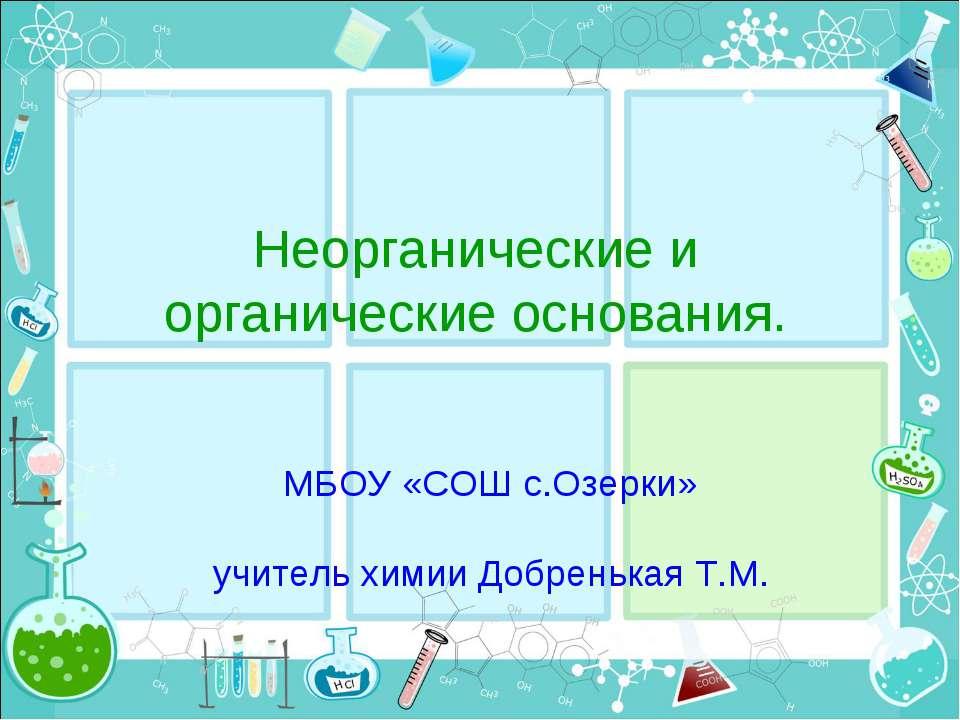 Неорганические и органические основания. МБОУ «СОШ с.Озерки» учитель химии До...
