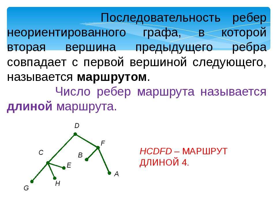 Последовательность ребер неориентированного графа, в которой вторая вершина п...