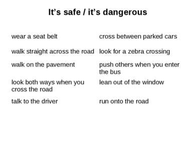 It's safe / it's dangerous