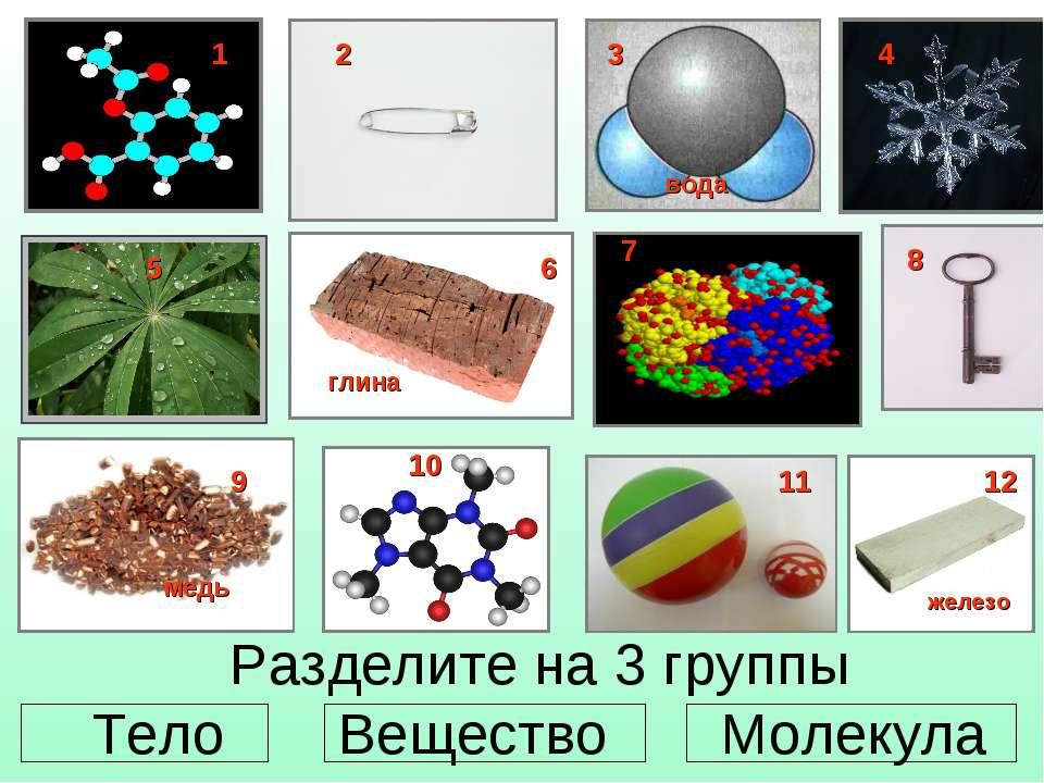 Разделите на 3 группы Тело Вещество Молекула 1 2 4 5 6 8 9 10 11 12 глина жел...