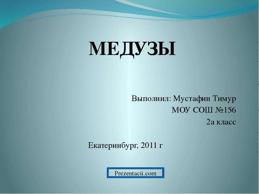 Выполнил: Мустафин Тимур МОУ СОШ №156 2а класс Екатеринбург, 2011 г МЕДУЗЫ Pr...