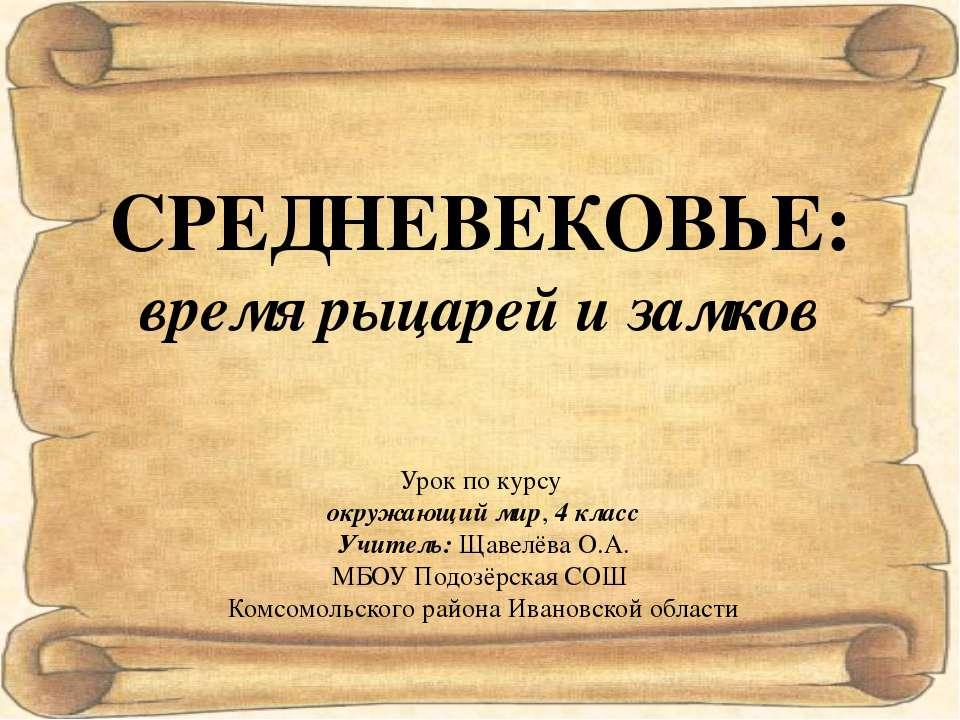 Урок по курсу окружающий мир, 4 класс Учитель: Щавелёва О.А. МБОУ Подозёрская...