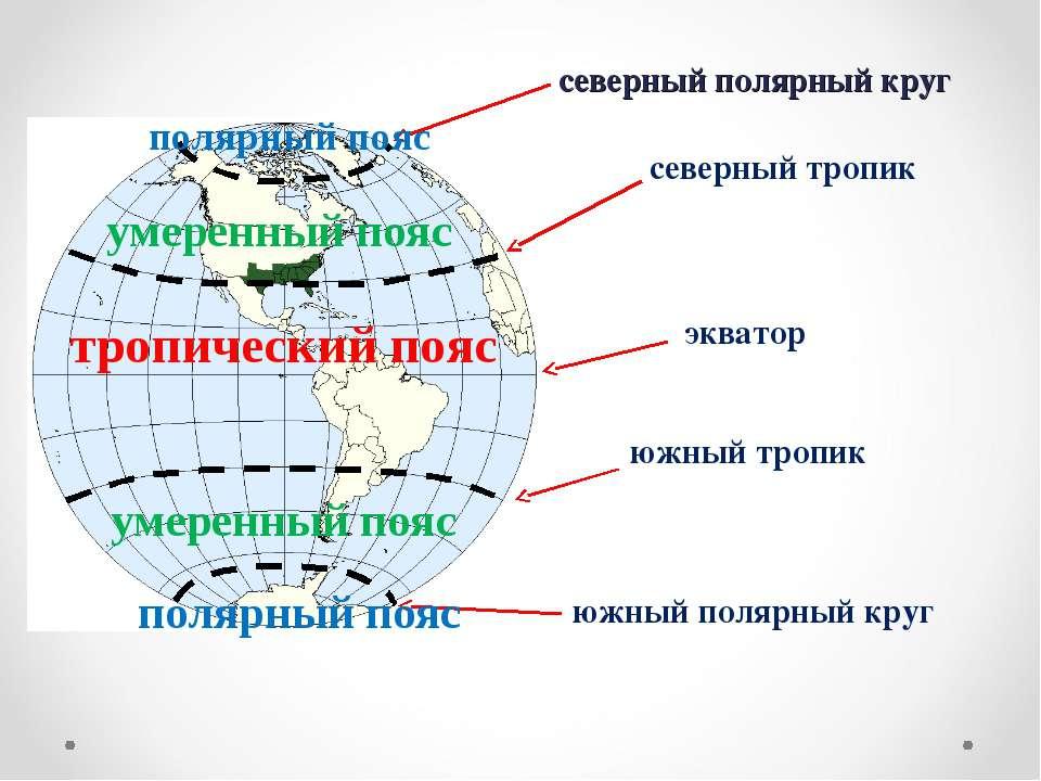 северный полярный круг экватор северный тропик южный полярный круг южный троп...