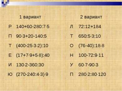 1 вариант 2 вариант Р 140+60-280:7 5 Л 72:12+184 П 90 3+20-140:5 Т 650:5 3:10...